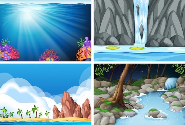 Cuatro escenas de la naturaleza diferentes.