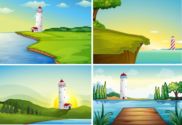 Cuatro escenas de naturaleza con faro junto al océano