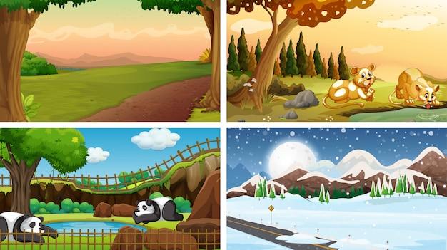 Cuatro escenas de la naturaleza con muchos animales.