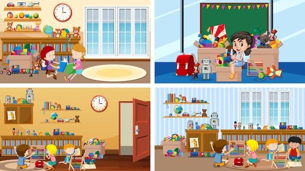 Cuatro escenas con niños en diferentes habitaciones.