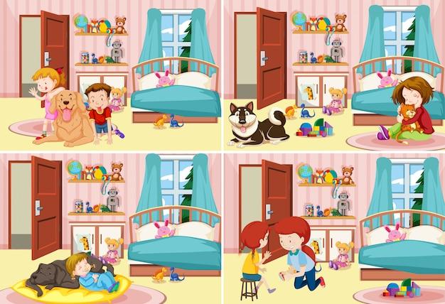 Cuatro escenas de niños en el dormitorio.