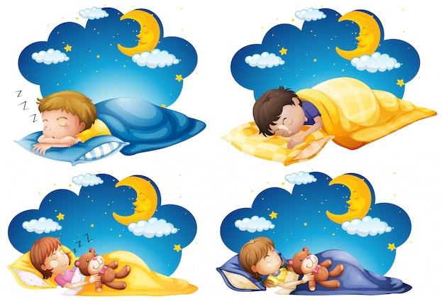 Cuatro escenas de niños durmiendo en la cama por la noche