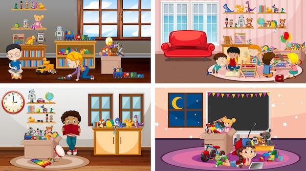 Cuatro escenas con niños jugando en diferentes habitaciones.