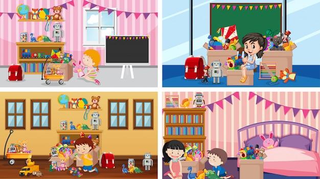 Cuatro escenas con niños jugando en las habitaciones.