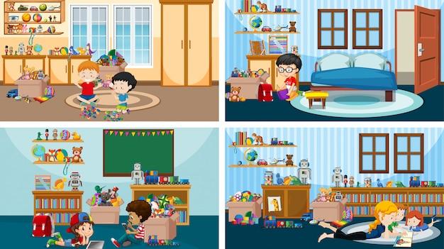 Cuatro escenas con niños jugando y leyendo en diferentes habitaciones.