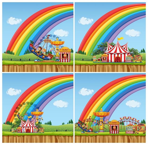 Cuatro escenas con niños montando paseos en el parque de atracciones