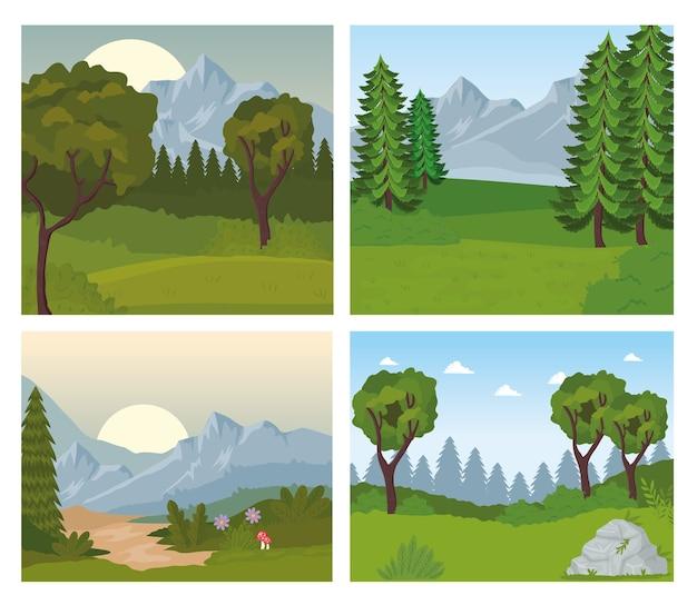 Cuatro escenas de paisajes con arboles.
