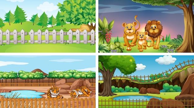 Cuatro escenas de parques con animales.