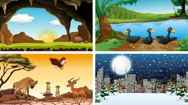 Cuatro escenas en el set