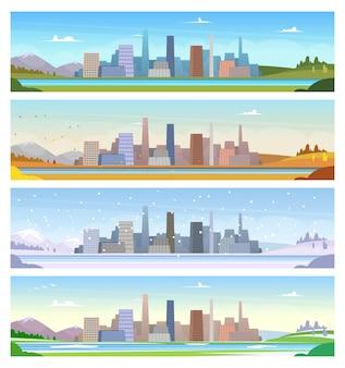 Cuatro estaciones. clima del paisaje urbano de verano, invierno, primavera y otoño, ilustraciones de dibujos animados