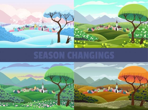 Cuatro estaciones de vista del pueblo