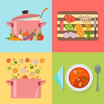 Cuatro etapas de preparación de sopa de verduras.