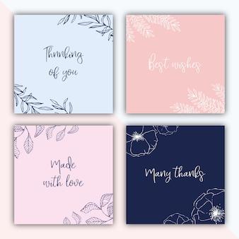 Cuatro etiquetas cuadradas de regalo con ilustraciones dibujadas a mano