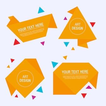 Cuatro etiquetas de diseño de origami