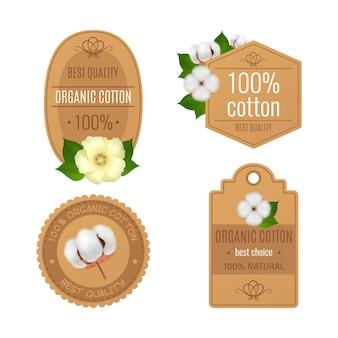 Cuatro etiquetas de emblemas de algodón realista transparente conjunto de iconos con algodón orgánico de mejor calidad y descripciones naturales