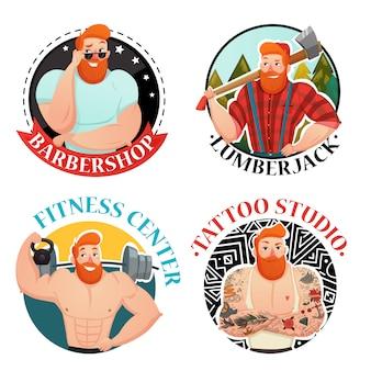 Cuatro etiquetas con iconos de hombres brutales