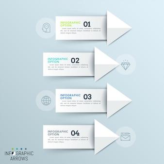 Cuatro flechas blancas de papel numeradas apuntando a iconos de líneas finas. plantilla de infografía minimalista.