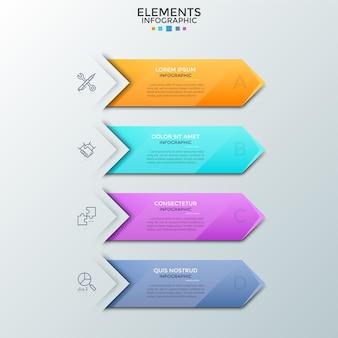 Cuatro flechas o marcadores de colores con lugar para el texto en el interior, símbolos de líneas finas colocados uno debajo del otro. concepto de lista de planificación con 4 pasos. plantilla de diseño infográfico. ilustración vectorial.