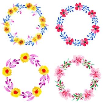 Cuatro guirnalda acuarela floral