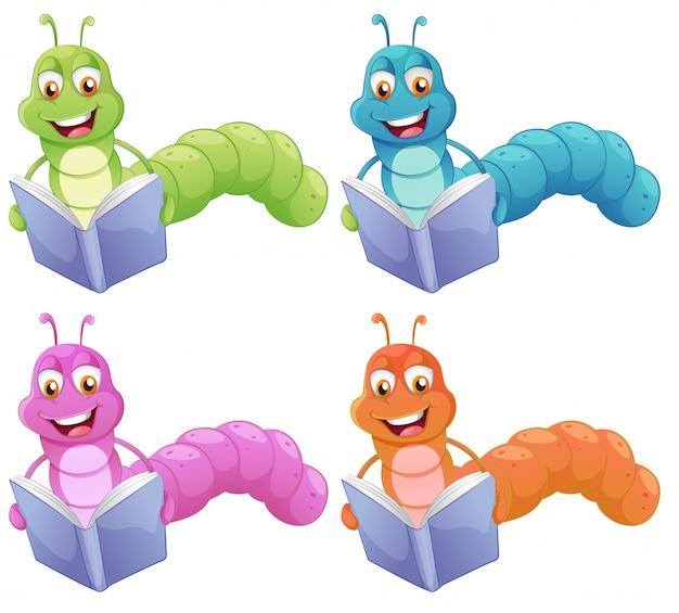 Cuatro gusanos leyendo