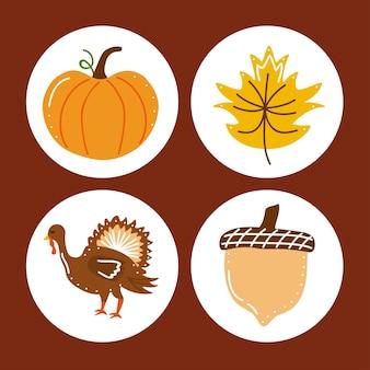 Cuatro iconos de celebración de acción de gracias