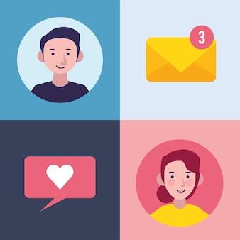 Cuatro iconos de conjunto de comunicación de mensajería