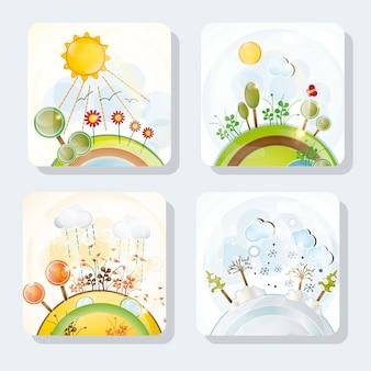 Cuatro iconos de estaciones con hermosos paisajes conjunto