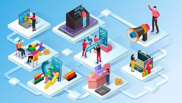 Cuatro iconos isométricos con trabajadores de oficina en equipo de trabajo, audición, consultoría empresarial y conferencia, ilustración vectorial