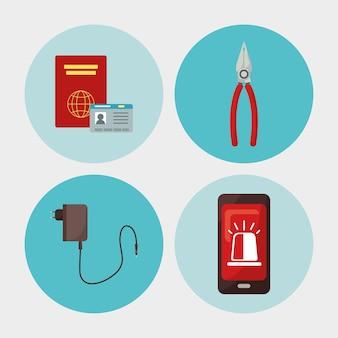 Cuatro iconos de kit de emergencia