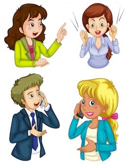 Cuatro iconos de negocios comunicando