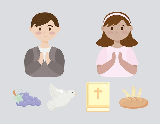Cuatro iconos de set de primera comunión