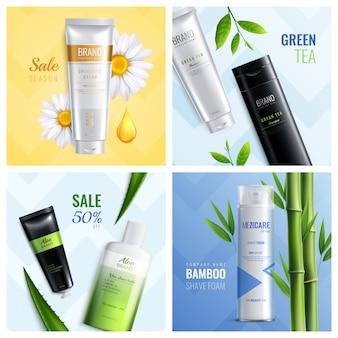 Cuatro ingredientes de cosméticos orgánicos cuadrados establecidos con la temporada de venta de té verde bambú espuma de afeitar descripciones ilustración vectorial