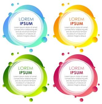 Cuatro insignias en diferentes colores