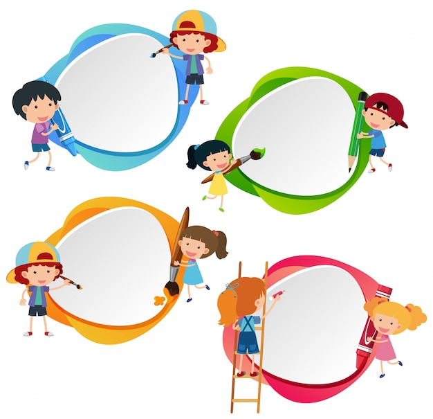 Cuatro insignias con niños y crayones