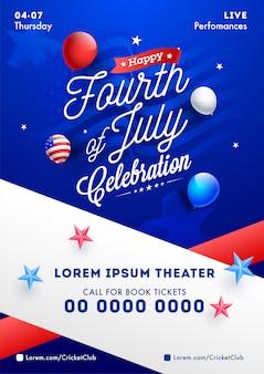 Cuatro de julio plantilla de celebración o diseño de volante con globo