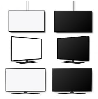 Cuatro k monitor led televisor sobre fondo blanco