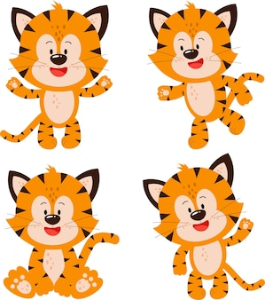 Cuatro lindos cachorros de tigre en diferentes poses el año del tigre