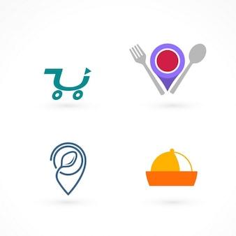 Cuatro logotipos para comida a domicilio