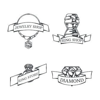 Con cuatro logotipos de joyero monocromos aislados