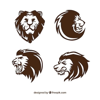 Cuatro logotipos de león, estilo expresivo