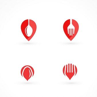 Cuatro logotipos rojos para comida a domicilio