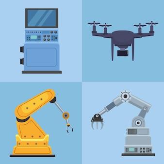 Cuatro máquinas robóticas de producción