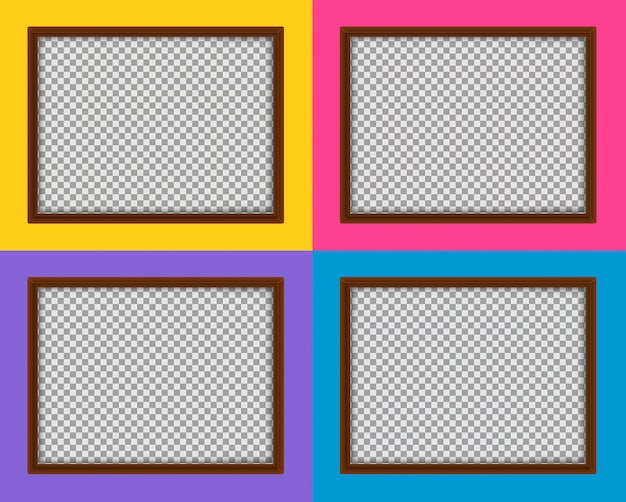 Cuatro marcos de madera con diferentes fondos de color