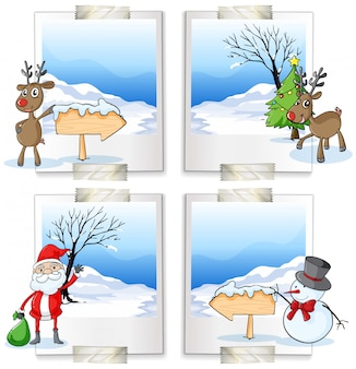 Cuatro marcos con tema navideño.