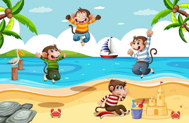 Cuatro monitos saltando en la escena de la playa.