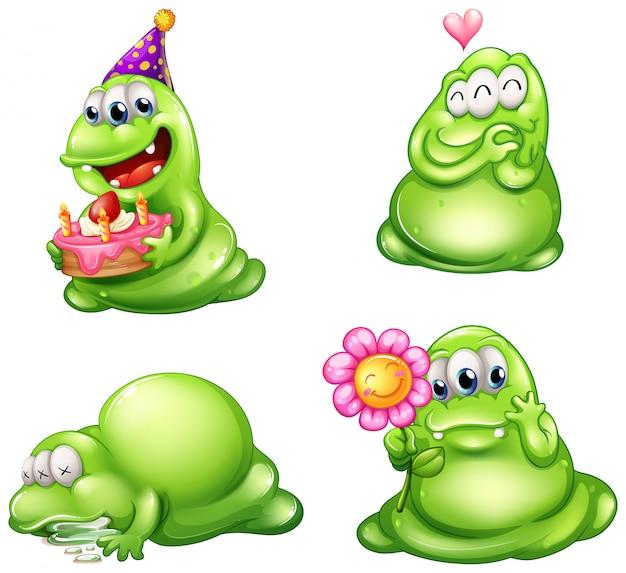Cuatro monstruos verdes con diferentes actividades.
