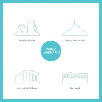 Cuatro monumentos hechos con líneas