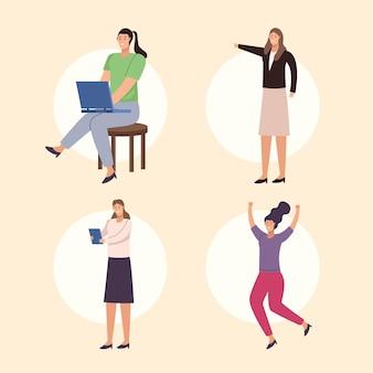 Cuatro mujeres empresarias personajes avatares personajes.