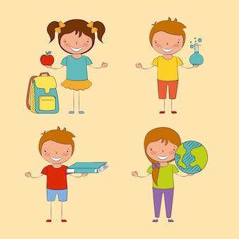 Cuatro niños con algunos elementos en sus manos ilustración