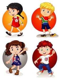 Cuatro niños de diferentes países.